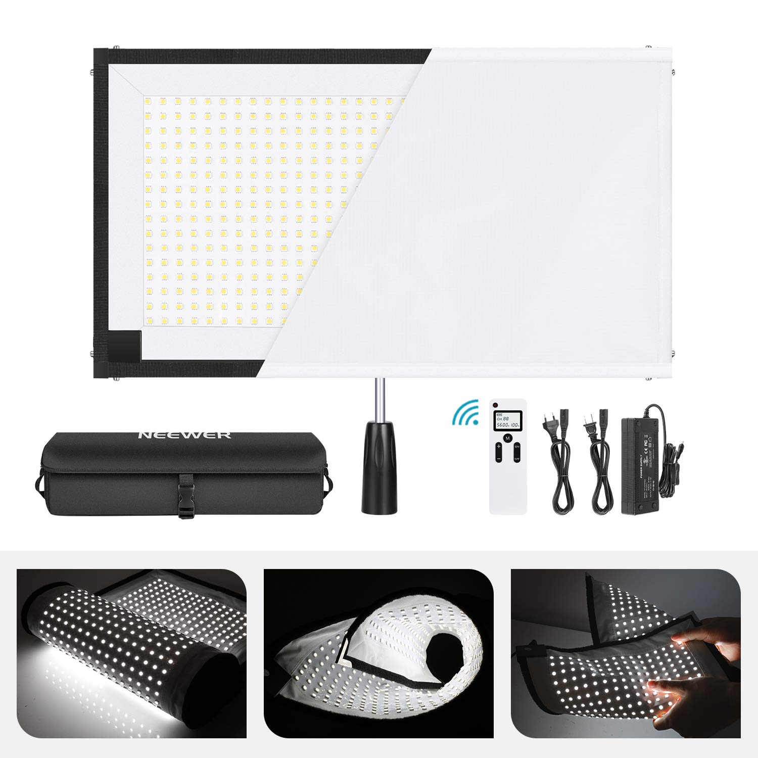 Neewer Rollable 30x53cm Flexible LED Light Panel Mat on Fabric 48W 5600K 512 LED Lighting Panel with Handle Grip, Remote Control, Diffuser Cloth, Carry Bag for Traveling Filmmakers Outdoor Photography