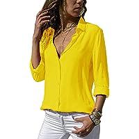 ASKSA Damesblouse, chiffon, elegant, lange mouwen, bovenstuk, effen, V-hals, losse hemdblouse, T-shirt, tops
