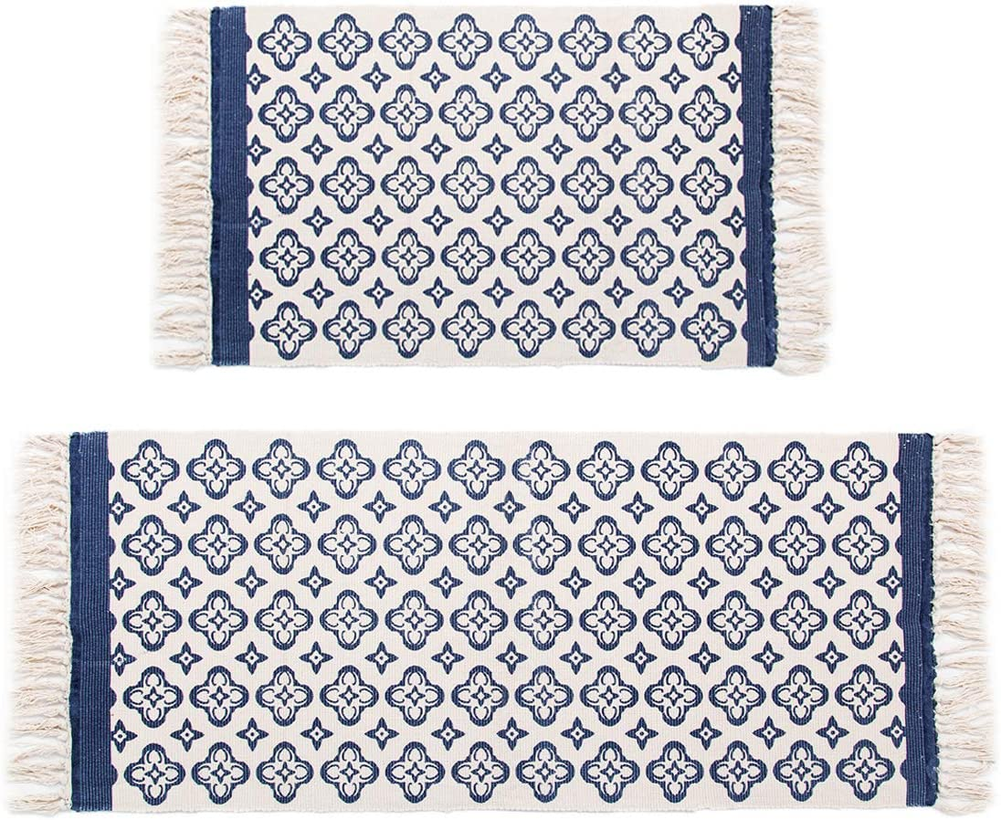 Pauwer Blue Moroccan Cotton Area Rug Set 2 Piece 2 x4.2 2 x3 Machine Washable Printed Cotton Rug