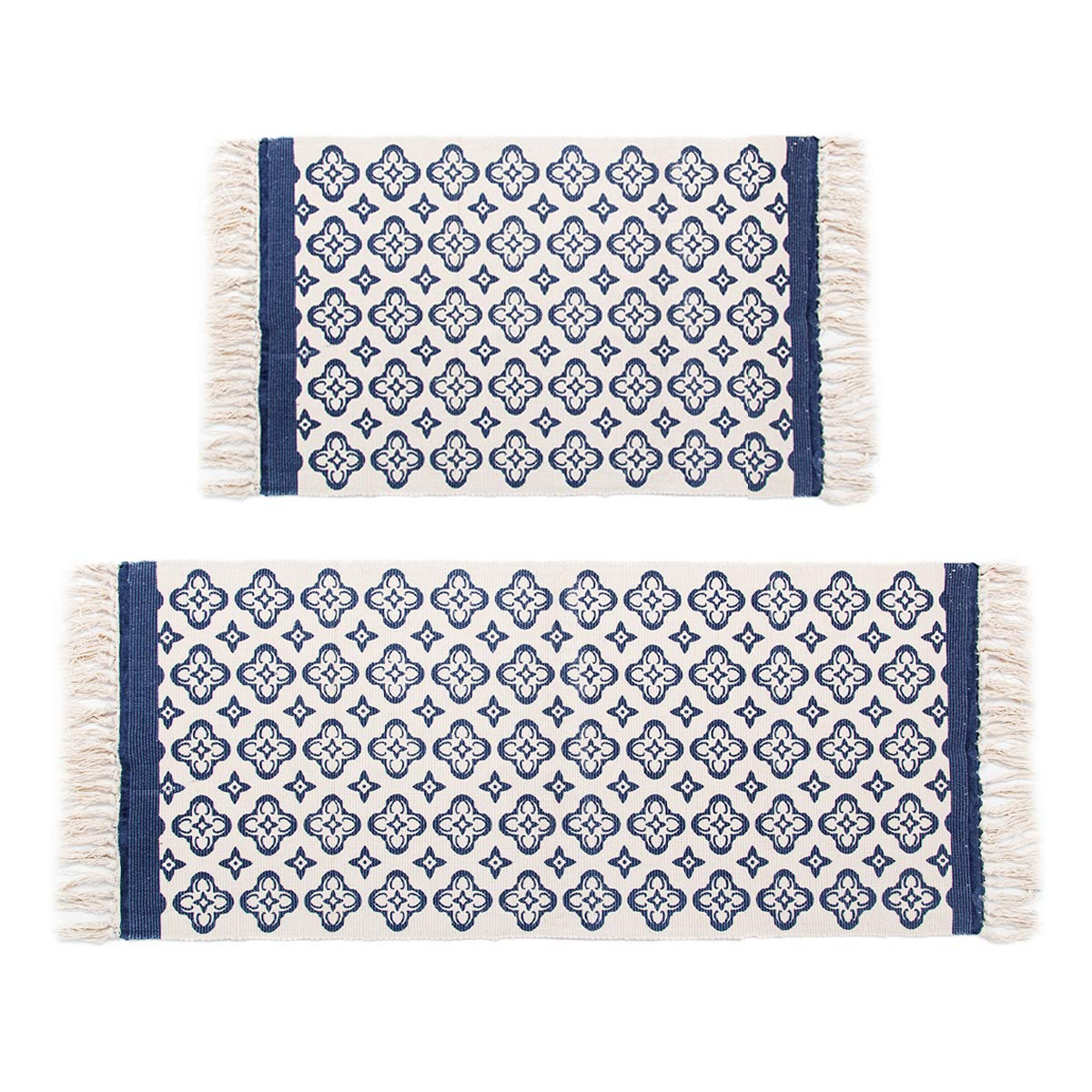 Pauwer Blue Moroccan Cotton Area Rug Set 2 Piece 2'x4.2'+2'x3' Machine Washable Printed Cotton Rugs with Tassel Hand Woven Cotton Rug Runner for Kitchen, Living Room, Bedroom