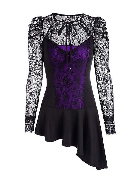 Lannister Fashion Camisetas Goticos Mujer Primavera Otoño Manga Larga Slim Fit Splice Encaje T Shirt Transparentes