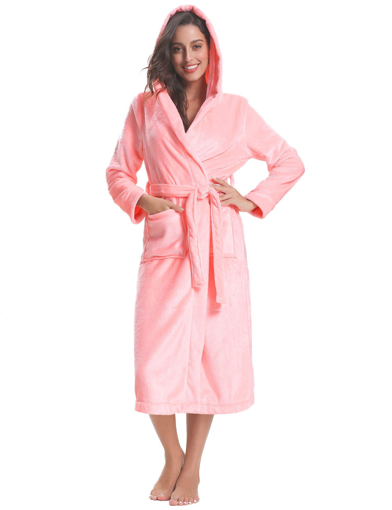 da638f430a Hawiton Unisex Winter Hooded Robes Long Bathrobe Plus Size Nightgown Robe  with Pockets