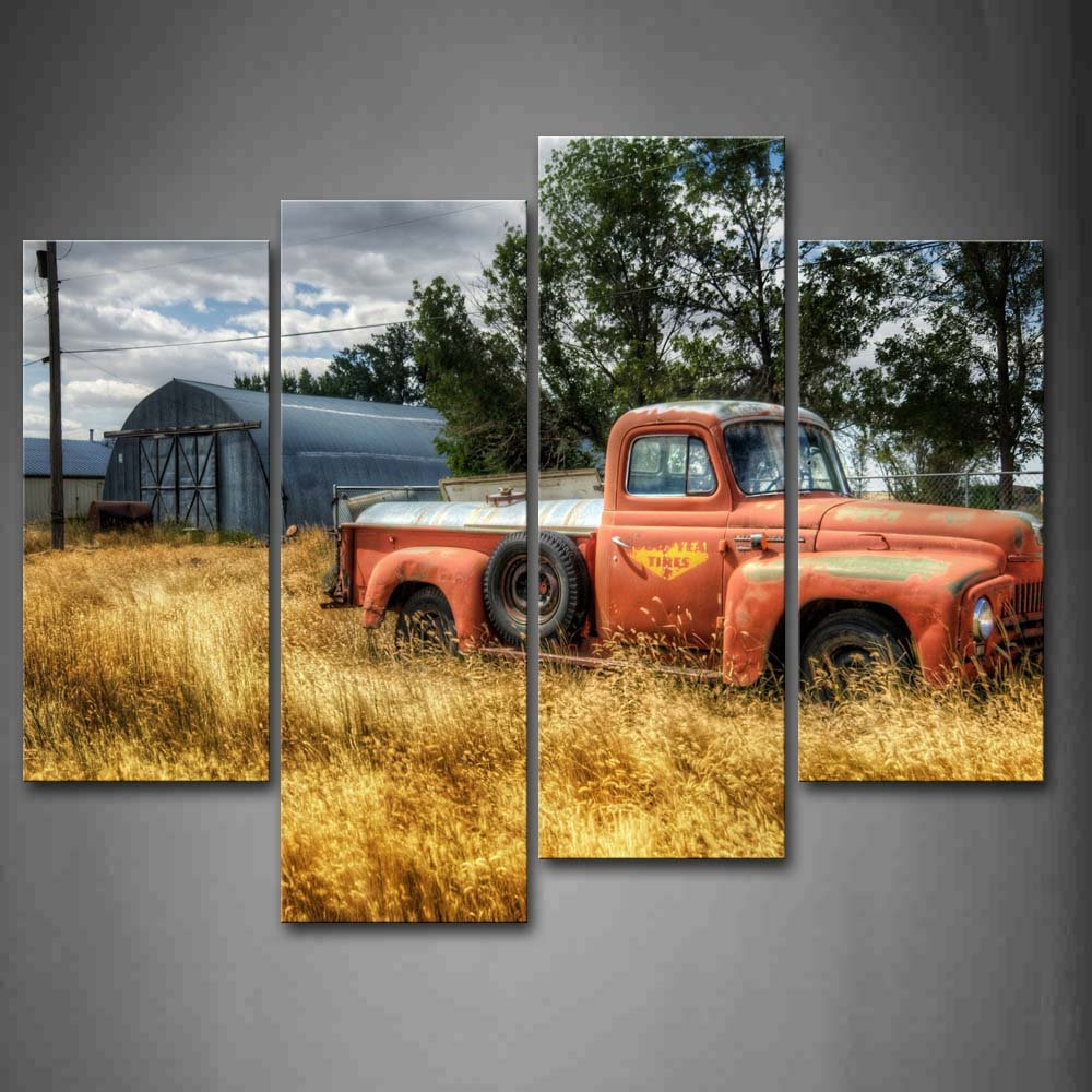 Car In Red Trees And Dry Grasses In Field Wall Art Painting Pictures Print On Canvas Car The Picture For Home Modern Decoration
