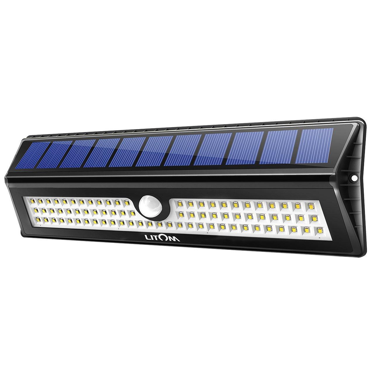 Litom 77 LED Super Bright Solar Lights Outdoor, Solar Motion Sensor Security Light Wireless IP65 Waterproof Wall Lights for Front Door, Back Yard, Garage, Deck, Porch, Shed, Walkway, Step(1 Pack)