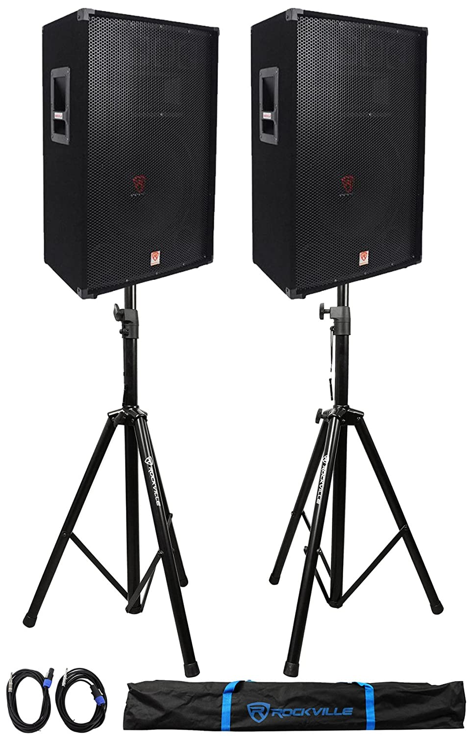 (2) Rockville RSG15 15 3-Way 1500 Watt 8-Ohm DJ PA Speaker +Stands +Cables (2) RSG15+RVSS2-TSNL4