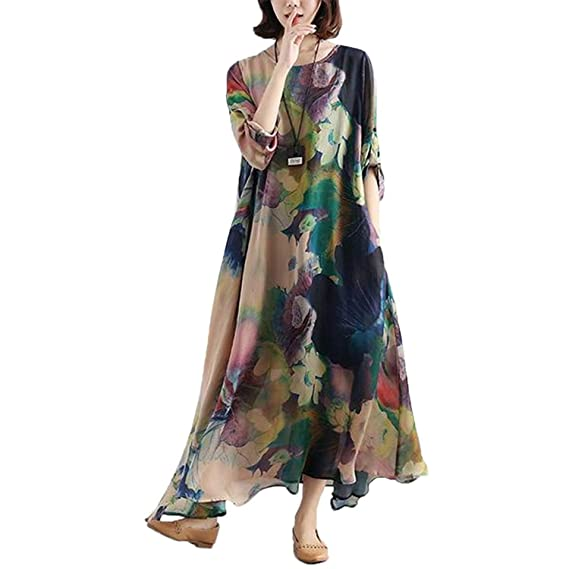 62cd2f5e3d BUYKUD Floral Silk Long Sleeve Swing Maxi Dress Causual Loose Plus Size  Kaftan with Pockets (Blue)(Size  One Size)  Amazon.co.uk  Clothing