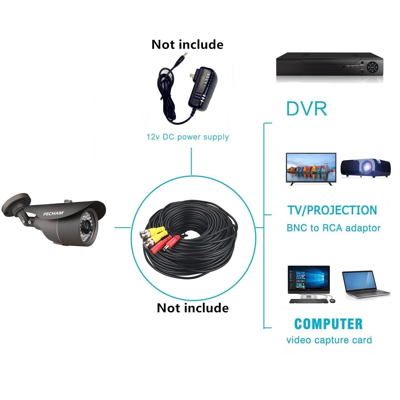 PECHAM cámara de seguridad exterior de Vigilancia CCTV, HD CMOS 3.6mm Gran Angular Lente 36 LEDs infrarrojos Color impermeable cámara: Amazon.es: Bricolaje ...