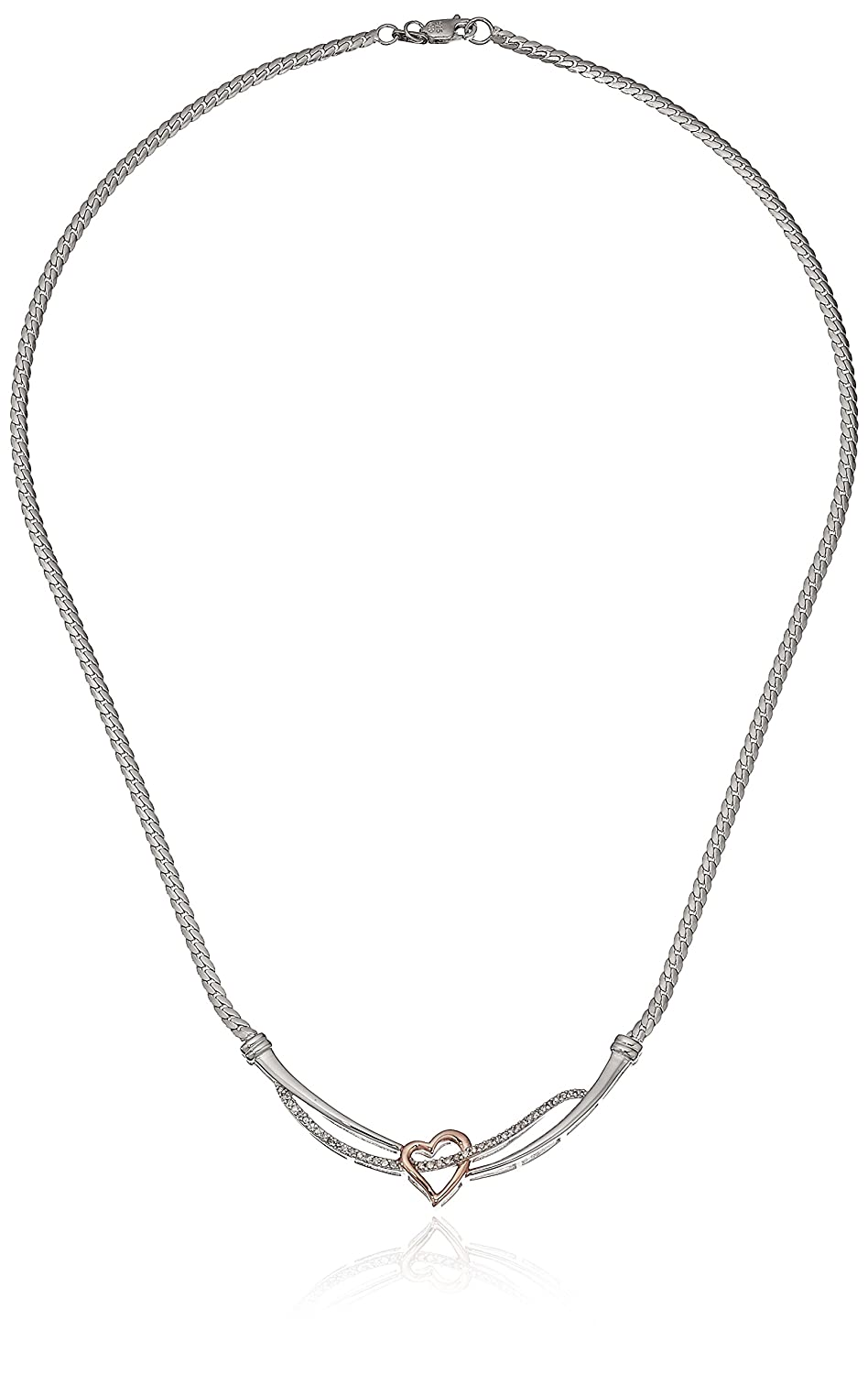 """Two-Tone Sterling Silver and 18k Rose Gold Over Silver Diamond Heart Necklace (1/4cttw, I-J Color, I2-I3 Clarity), 17"""""""