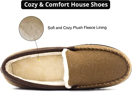 Men's Classic Cozy Warm Wool Micro Suede Moccasin Slippers House Shoes Size 8