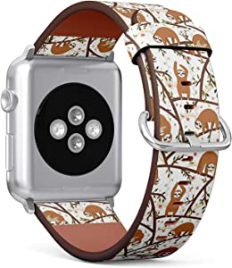 Compatible with Big Apple Watch 42mm & 44mm (All Series) Leather Watch Wrist Band Strap Bracelet with Stainless Steel Clasp and Adapters (Funny Sloths)