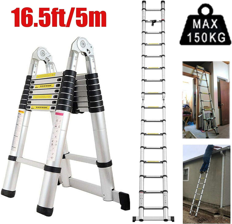 Escalera telescópica de 5 m de aluminio, multiusos, compacta, tipo A y fácil de almacenar, carga máxima de 150 kg para trabajos de construcción, bricolaje: Amazon.es: Bricolaje y herramientas