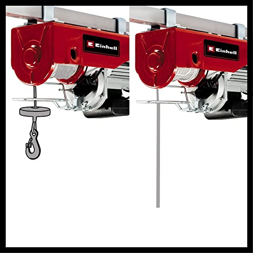 Einhell Cable Hoist Tc Eh 1000 1600 W 500 Kg To 18 M 999 Kg To 9 M Emergency Stop Automatic Brake Automatic End Shutdown Includes Pulley And Safety Bar 18 M Twist Free