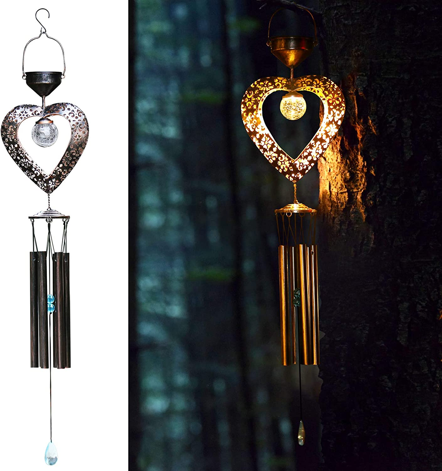 newvivid Solar Wind Chimes, Solar Powered Heart-Shaped LED Wind Chimes Crackle Glass Ball LED Light with Metal Tubes Waterproof for Home Garden Patio Party Festival Decor