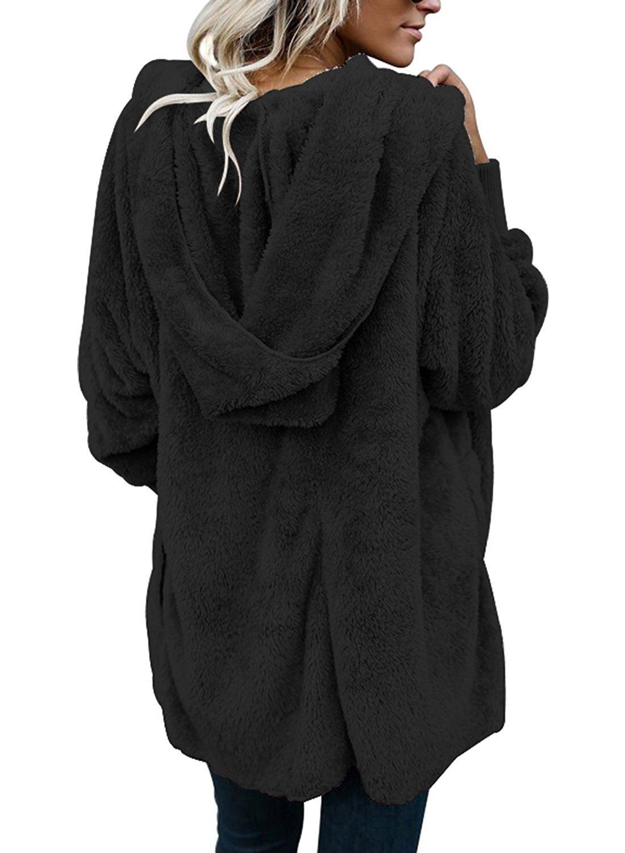 SVALIY Womens Fuzzy Fleece Loose Open Front Hooded Cardigan Coats Outwear  Pockets 7343fbf51