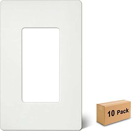 10 pc NEW Screwless Wall plate Decora Decorator GFCI Cover White Snap on plate