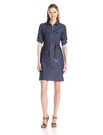 Sharagano Women's Denim Shirt Dress at Amazon Women's Clothing store: