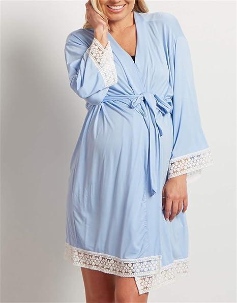 UNIQUE-F Madre de Las Mujeres del cordón de Las Mujeres Embarazadas Ocasional Lactancia del bebé Pijamas Vestido de algodón Camisa Blusa Camiseta Comfort Blue L: Amazon.es: Hogar