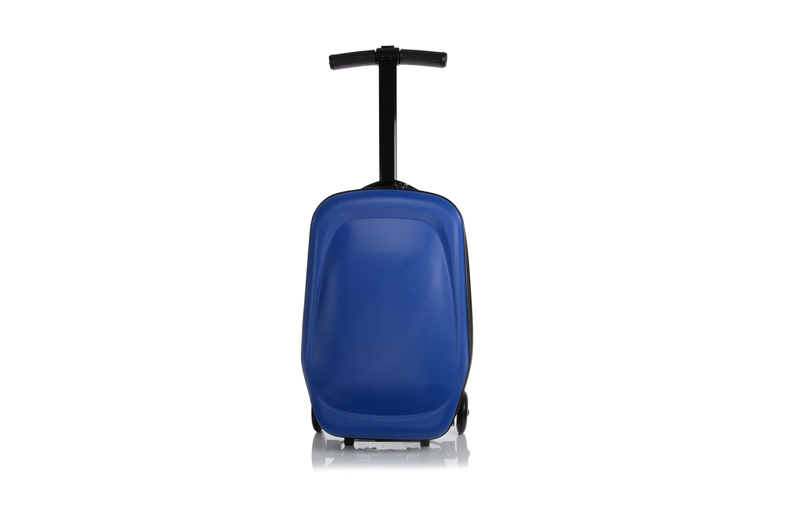 20 Inch Unisex Multi-Functional Scooter Travel Upright Suitcase Luggage with 3 Hot Wheels for Girls Boys and students Foldable Trolley Convertible Travel School Bag (Blue) by Little Jasmine