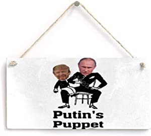 "VinMea Wooden Banner Quote Sign - Trump Putin'S Puppet Wooden Wall Art Sign, Office Farmhouse Home Decor Sign (8"" X 12"""