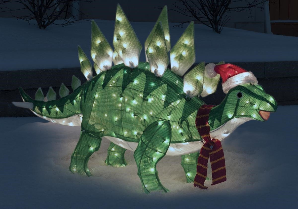 Animated stegosaurus dinosaur christmas decoration for Animated tinsel dinosaur christmas decoration
