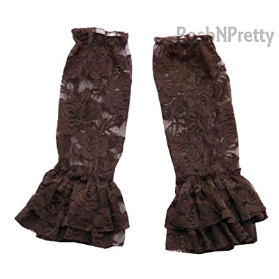 Chocolate Floral Lace FRILL Legwarmers. One Size