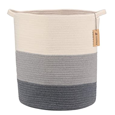LEEPES Extra Large Storage Baskets Cotton Rope Basket Woven Baby Laundry Basket with Handle for Toy Cute Neutral Home Decor Addition Diaper Toy …