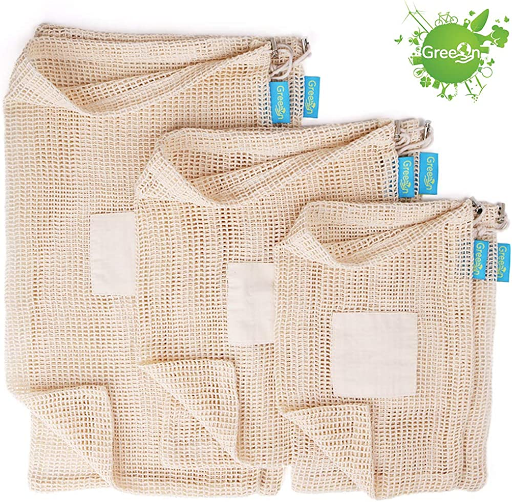 GreeOn Eco Friendly Reusable Produce Bags - Non Plastic - Net Zero Waste, Organic Cotton Mesh Produce Vegetable Bag Washable (with Drawstring & Tare Weight) for Grocery Shopping and Storage, Set of 6