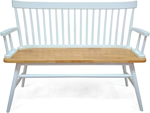 Eartha Farmhouse Bench, White and Natural