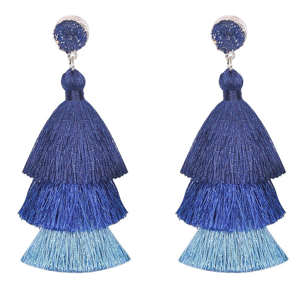 Vesungimey Tassel Earrings - Layered Long Large Bohemian Dangle Drop Druzy Stud Statement Earrings For Women(14 colors available)