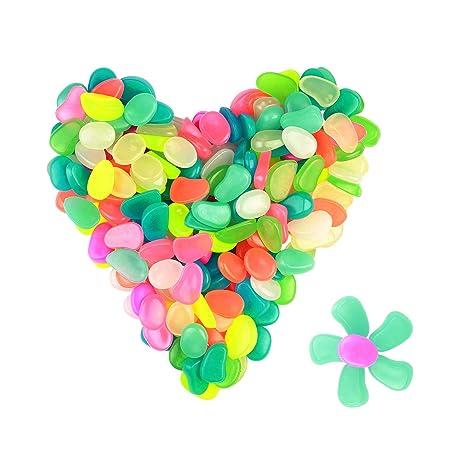 ZoomSky 200 pcs Piedras Luminosos Brillantes de Colores decoración del niño de habitación de Ventana Guijarro