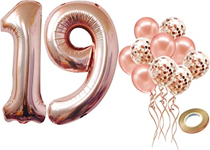 19th Latex Balloon 19 Years Old Birthday Decoration Supplies 19th Rose Gold Number Balloons Sweet 19th Birthday Decorations Party Supplies 19th Birthday Balloons Rose Gold