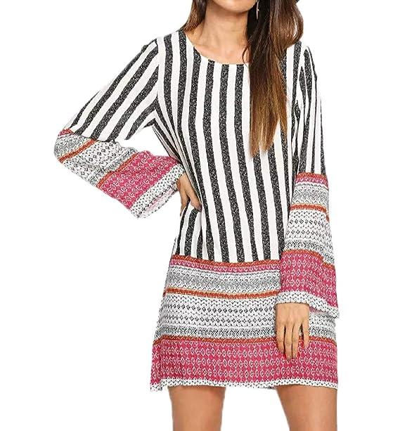 Otoño Mujeres Mini Vestido Casual Nacional Estilo Rayas Impresión Costura Vestido Primavera Elegante Moda Cuello Redondo Manga Larga Vestidos de Fiesta ...
