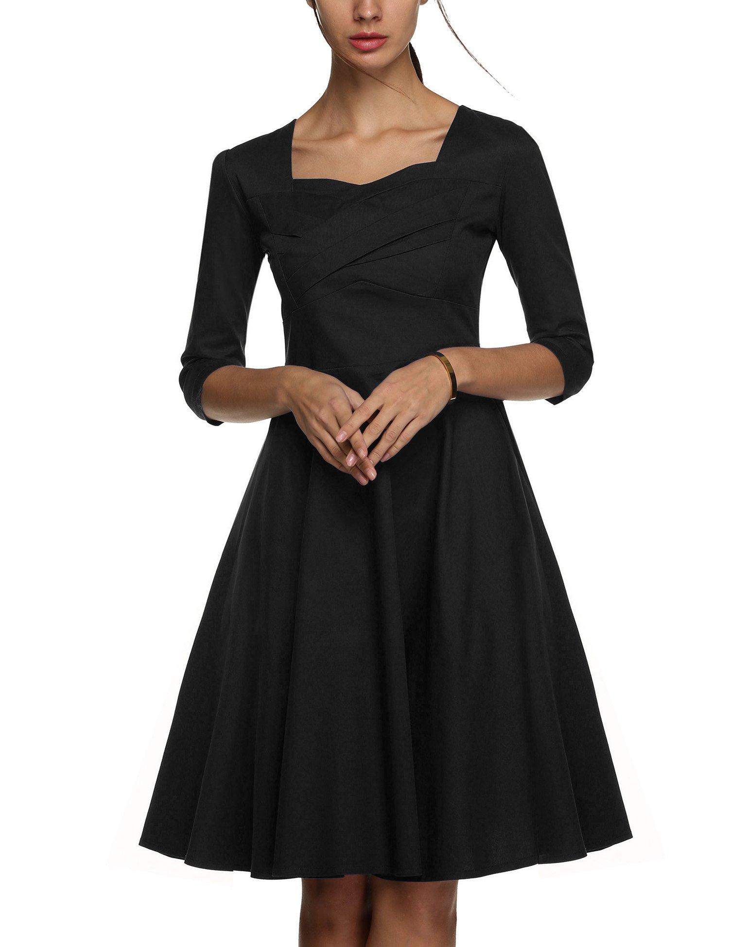 UpBeauty Women Scoop Neck 3 4 Sleeve Bodycon Evening Cocktail Party Dress,Black,Medium