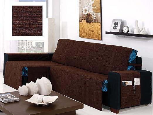 textil-home Funda Cubre Sofá Chaise Longue KIOTO, Brazo Derecho. Tamaño -280cm. Color Marrón