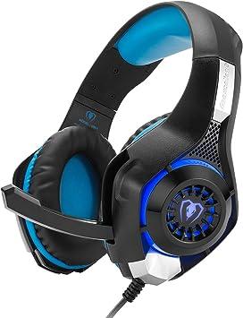 Auriculares gaming, GM-1 Auriculares Mejorados para Playstation PS4 PSP Xbox One Tablet iPhone iMac iPad, con PC Microphone Adaptador Cable - Negro Azul: Amazon.es: Videojuegos