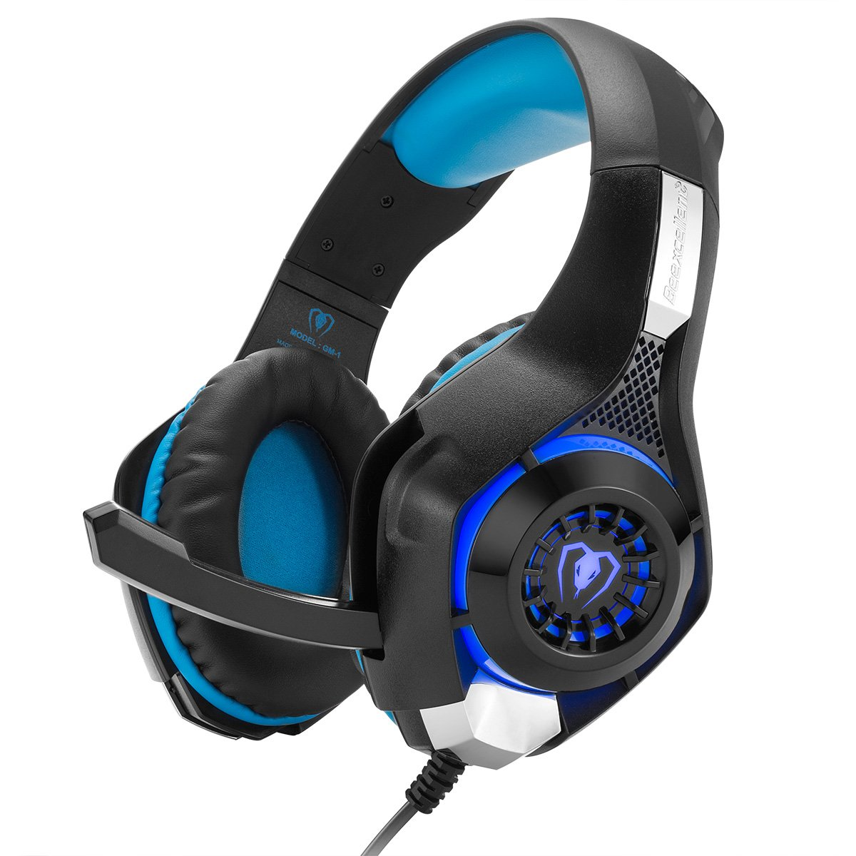 Cuffie Gaming, GM-1 Bass Gaming Headset Avanzate per PC PS4 Xbox One Laptop iPhone iMac iPad, con Microfono Adattatore Cavo - Nero & Blu Cocar GM1