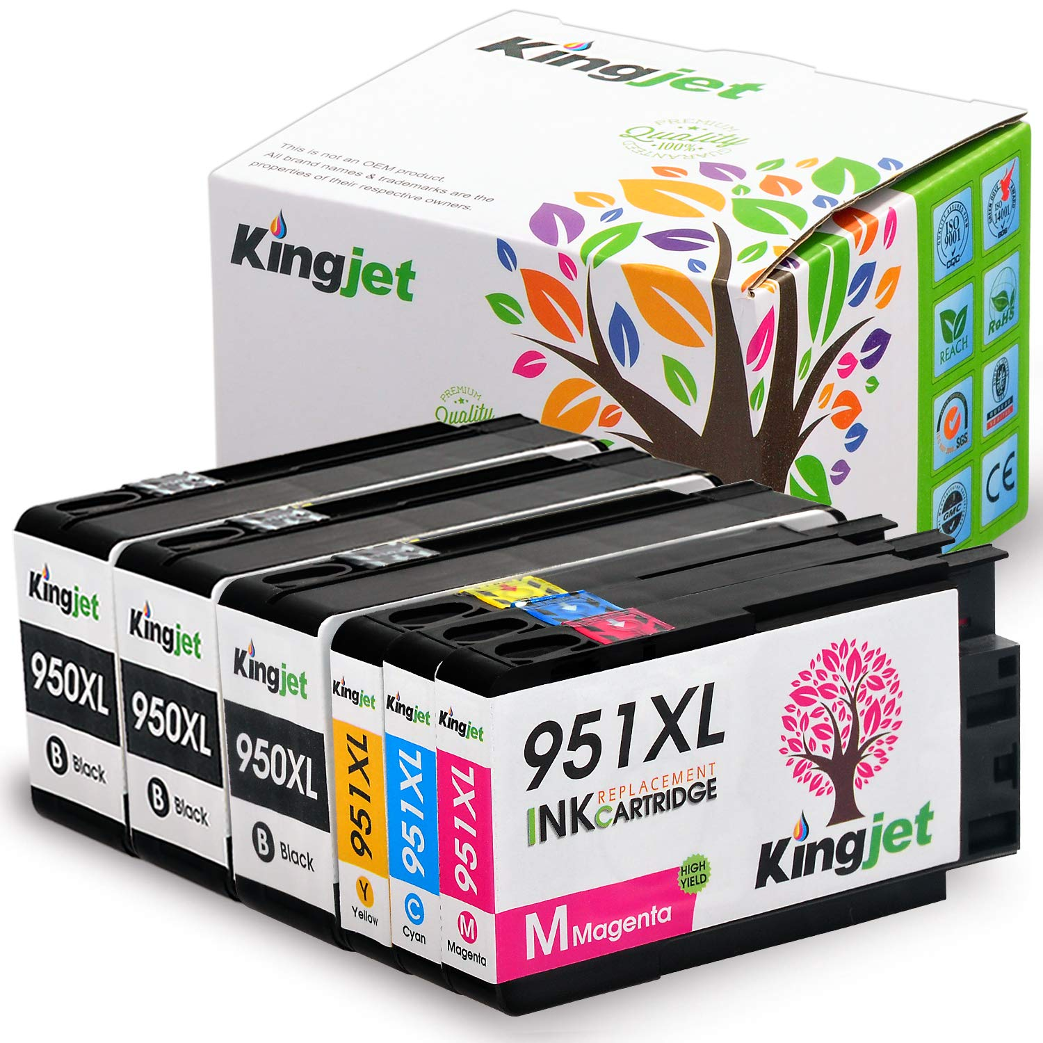 Kingjet 950XL 951XL Ink Cartridge High Yield Replacements Work for Officejet Pro 8600 8610 8620 8630 8640 8660 8615 8625 Printer (3BK 1C 1M 1Y)