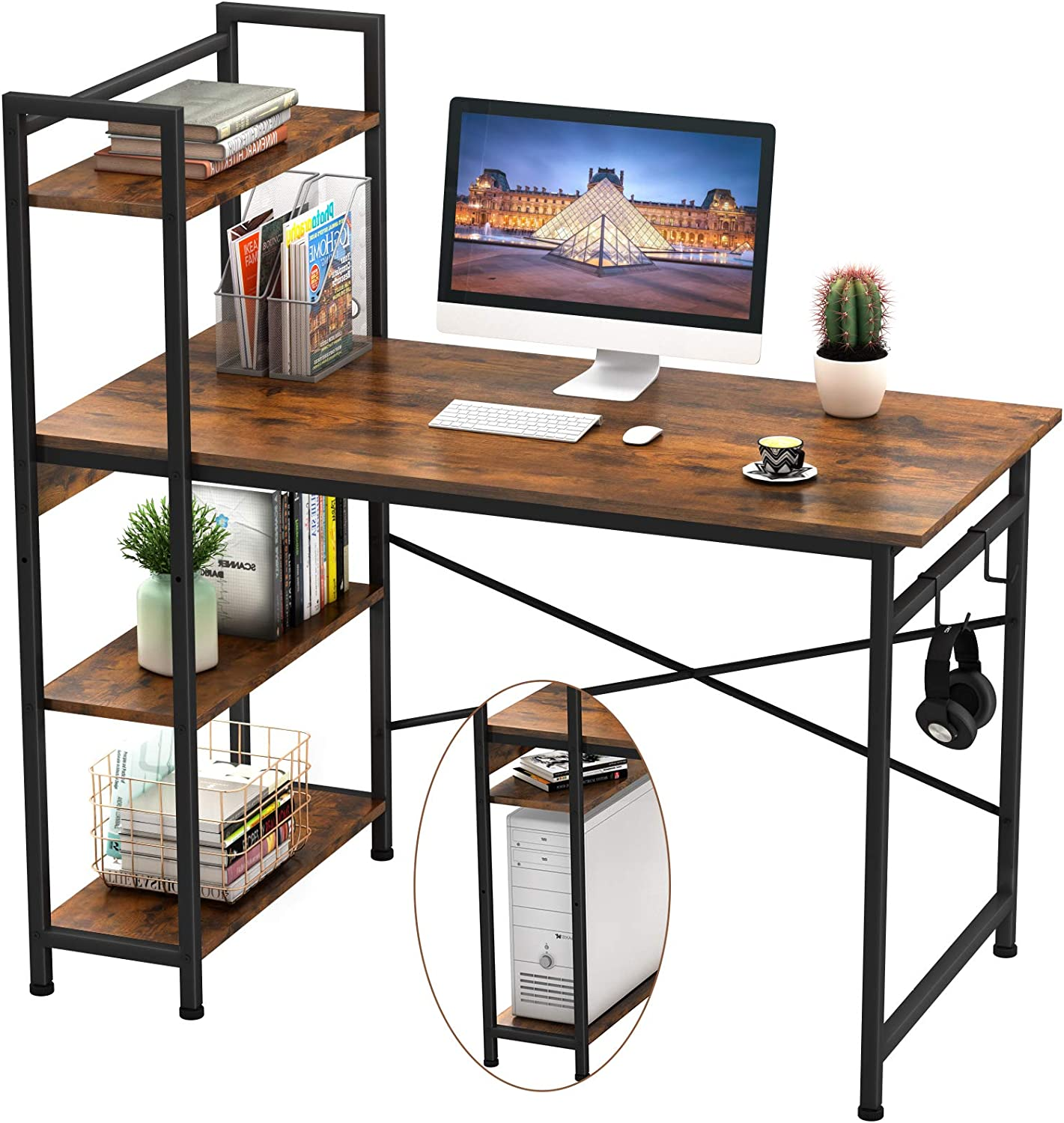 Engriy Computer Desk with 4 Tier Shelves for Home Office, 47