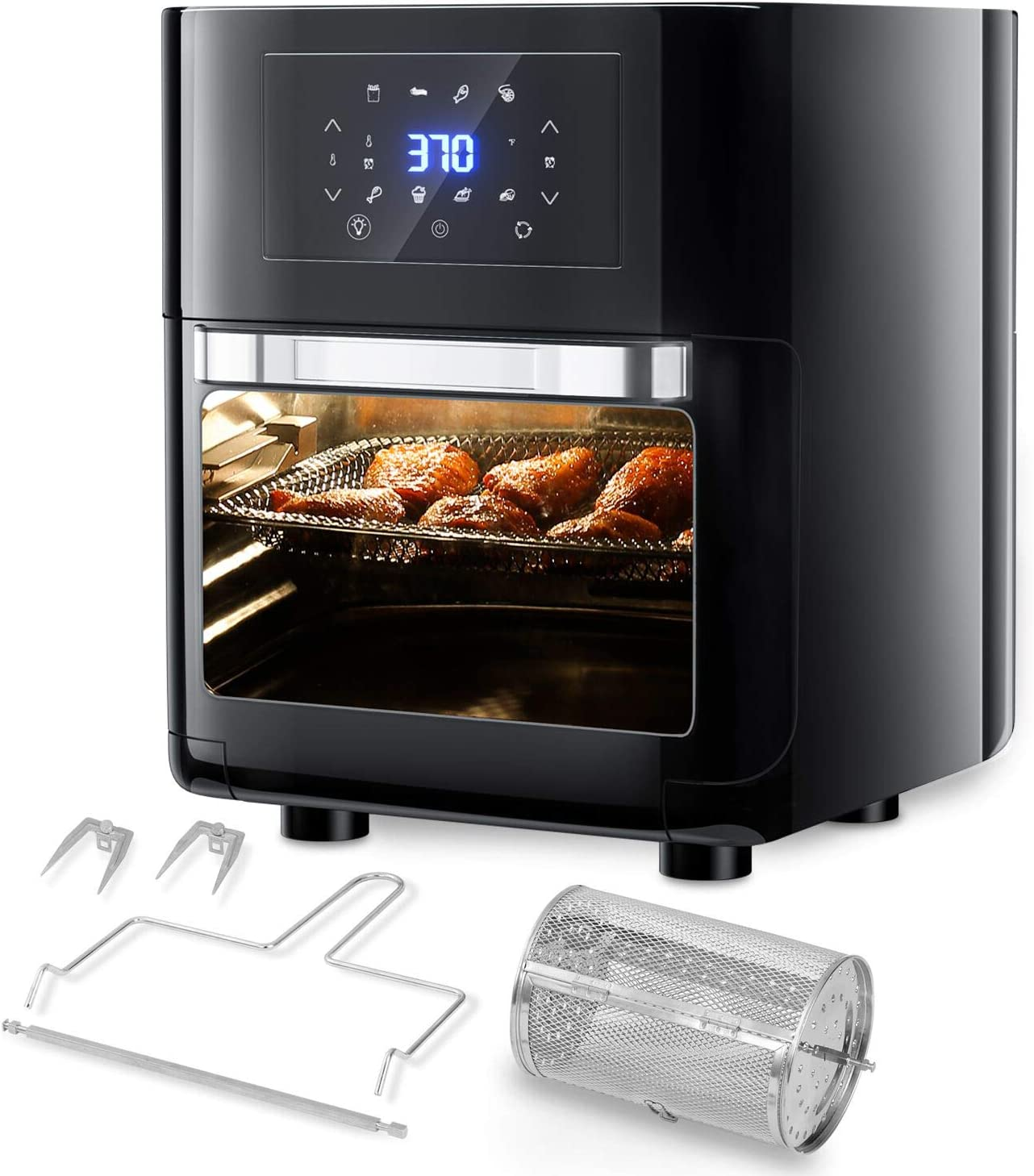 CateVoice 1700W Air Fryer Toaster Oven, 10.5 QT Convection Roaster, 8-in-1 Multifunctional Cooker, LED Digital Touchscreen | Rotisserie Dehydrator | Auto Shutoff | 5 Accessories and Recipe Includes | XL Family Size