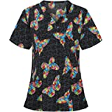 Hotkey Short Sleeve Tops for Women, V-Neck Pocket Care Workers T-Shirt Floral Butterfly Printed Working Uniform Blouse