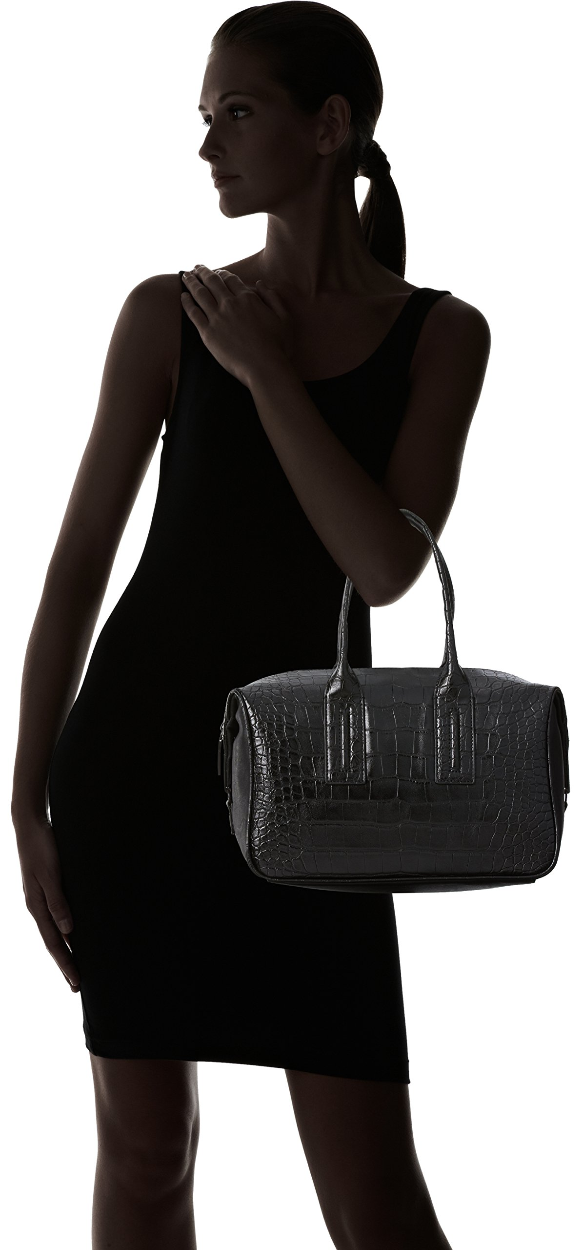 French Connection Shes A Lady Satchel,Black Crocodile,One Size by French Connection (Image #6)