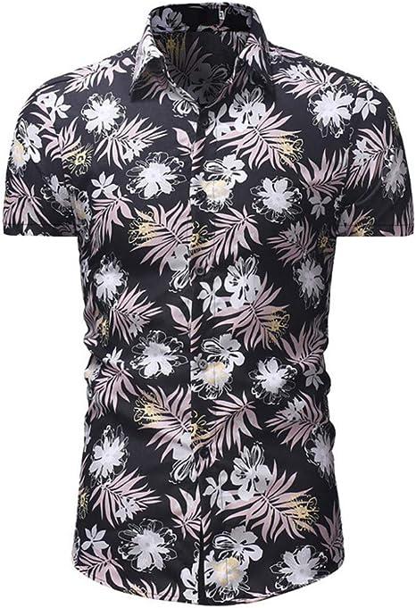 CHENS Camisa/Casual/Unisex/M Camisa de Verano para Hombre Tallas Grandes Casual Button Down Manga Corta Camisa Hawaiana Top Blusa Negro Ropa: Amazon.es: Deportes y aire libre
