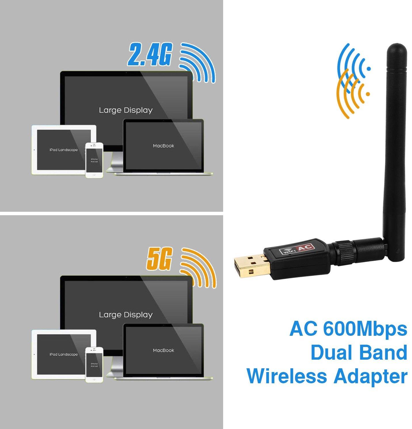 iMounTek 600 Mbps Dual Band (2.4GHz/150Mbps+5GHz/433Mbps) WiFi Adapter Wireless USB Dongle. 802.11G/N/B High Gain Antenna Network Lan Card- Desktop/Laptop/PC Windows 10/8/8.1/7/XP/Vista/MAC OS/LINUX