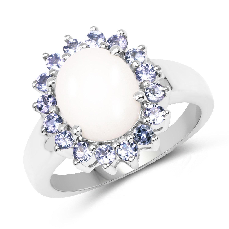 2.55 Carat Genuine Opal & Tanzanite .925 Sterling Silver Floral Ring