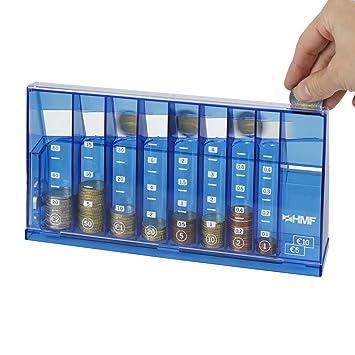 HMF - Clasificador de monedas (240 x 50 x 120 mm, con organizador de monedas horizontal), color azul: Amazon.es: Oficina y papelería