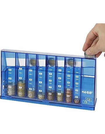 HMF - Clasificador de monedas (240 x 50 x 120 mm, con organizador de