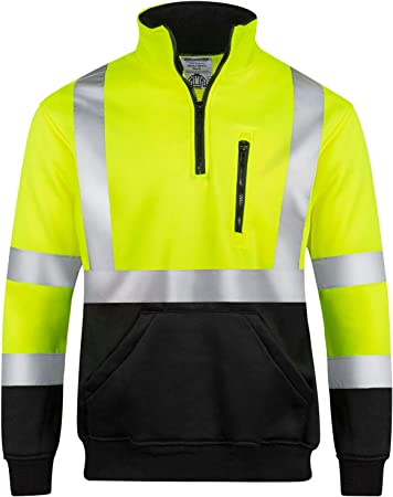 High Visibility Reflective Outdoor Hooded Sweatshirts for Mens Long Sleeve Road Work ANSI Class 3 Level 2 Type R TS-02