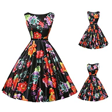4028bad9fd8 50S 60S Vintage Dresses Short Sleeve for Women Floral Elegant Pleated Tea  Hepburn Dresses for Summer Ladies at Amazon Women s Clothing store
