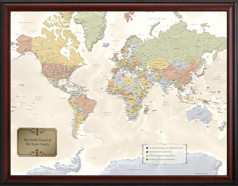 Amazoncom Personalized World Traveler Map Wall Art - World map of the united states