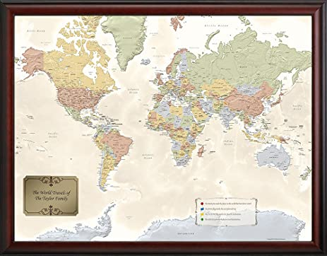 Amazon personalized world traveler map wall art personalized world traveler map gumiabroncs Image collections